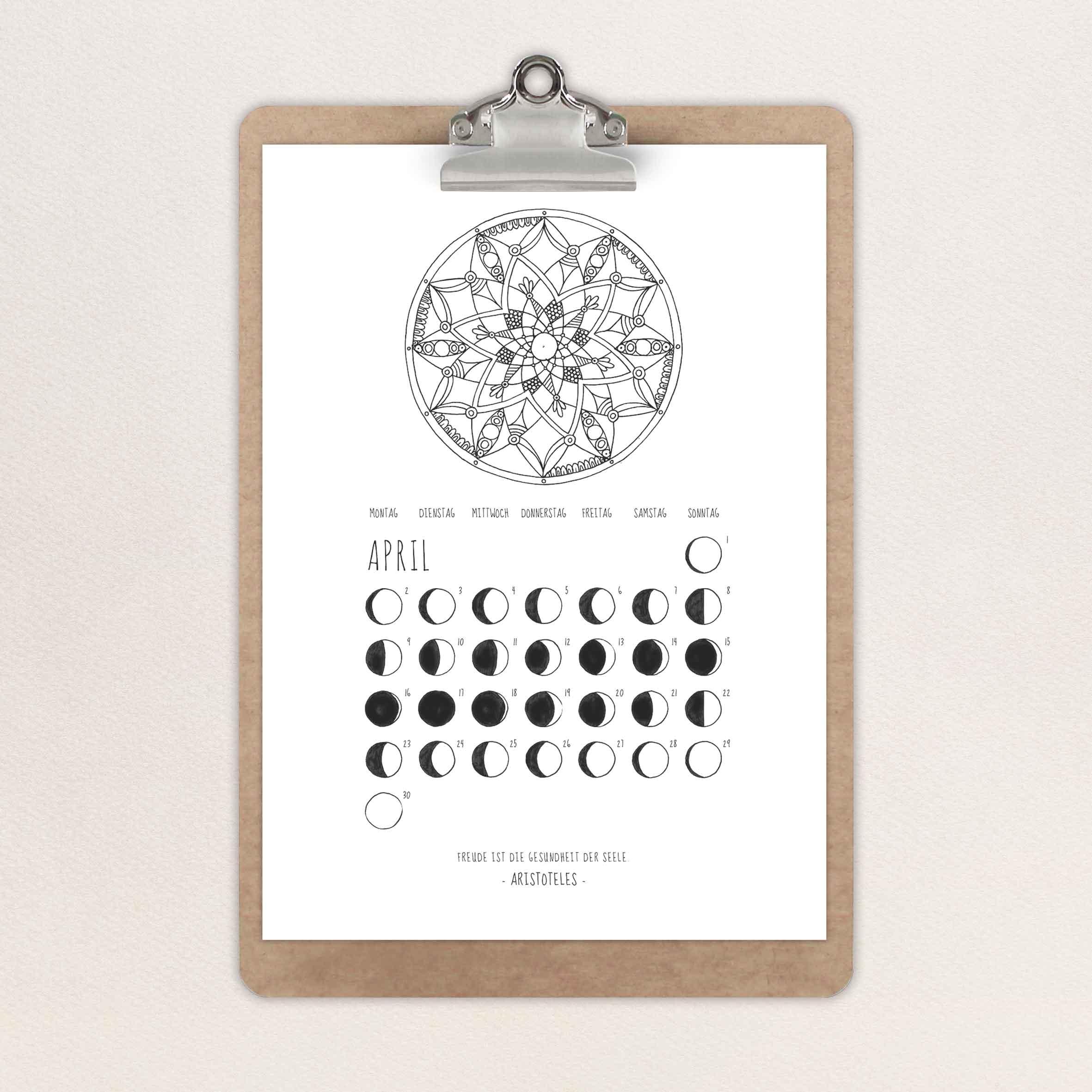 Illustration eines Kalenders mit dem Thema Mondphasen