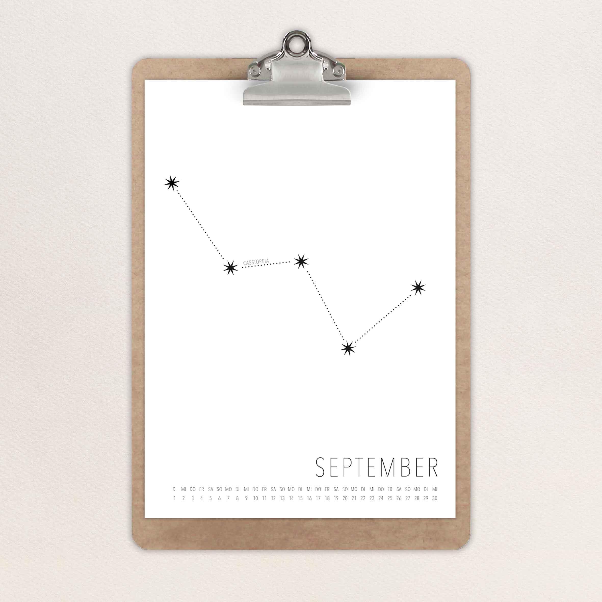 Gestaltung eines Kalenders mit dem Thema Sternbilder