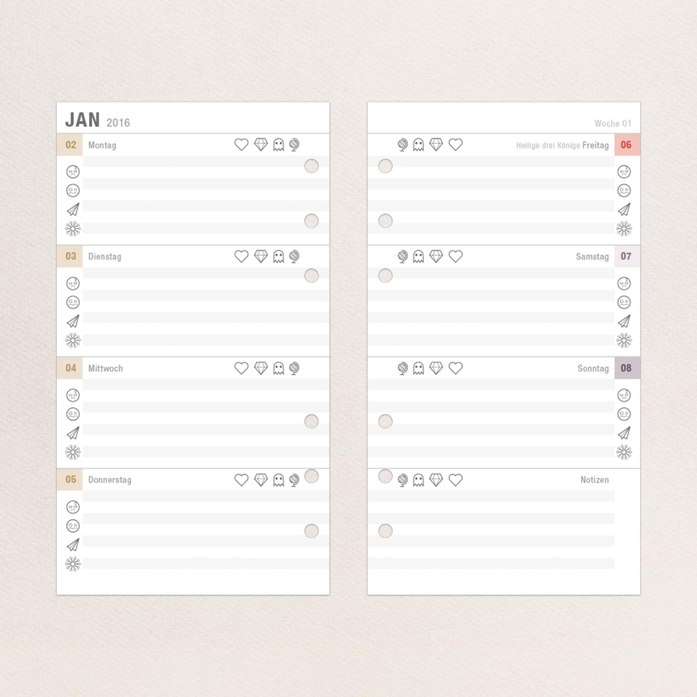Kalendereinlagen 2016 Wochenübersicht
