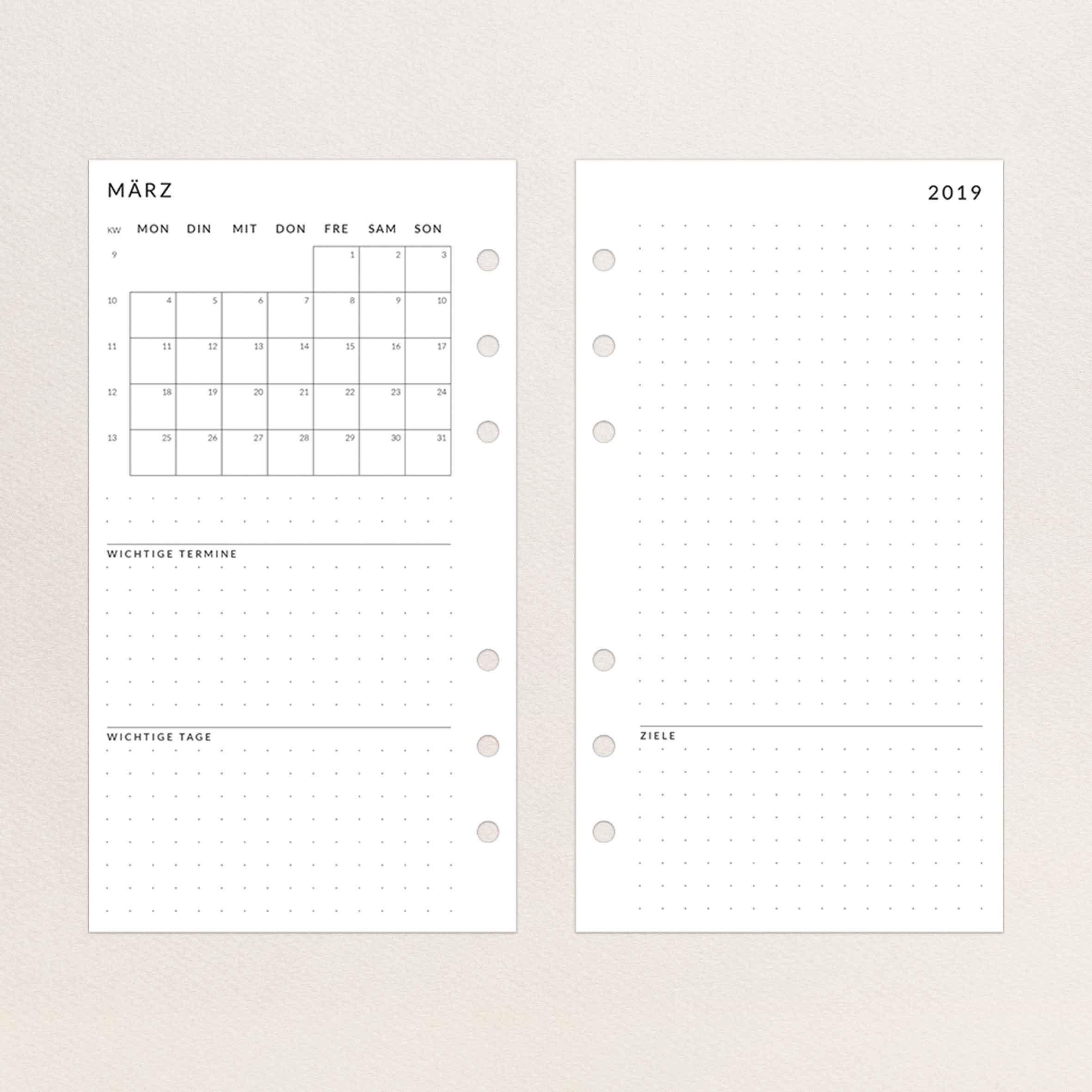 Kalendereinlagen 2019 Personal - Wochenübersicht