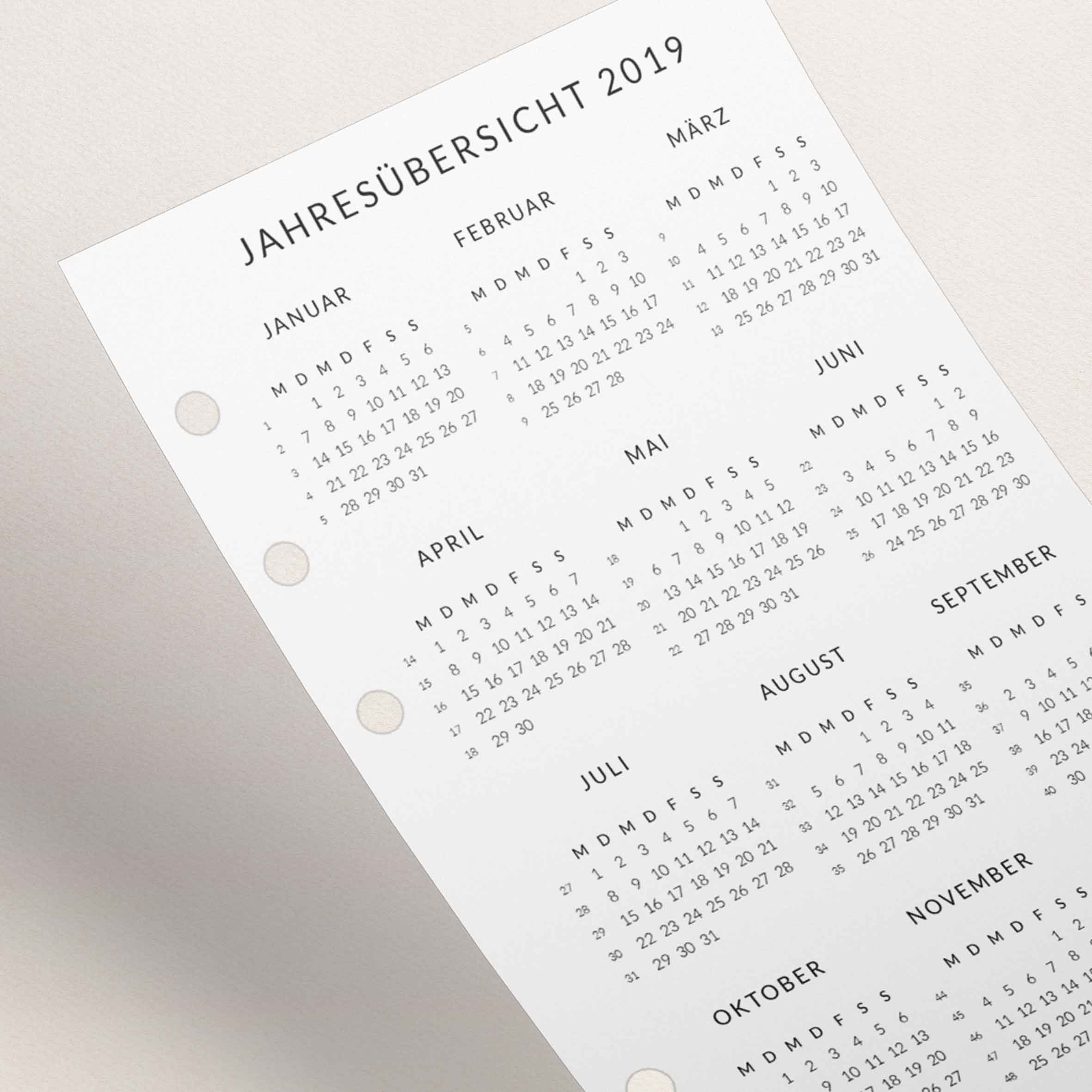 Kalendereinlagen 2019 Personal - Jahresübersicht
